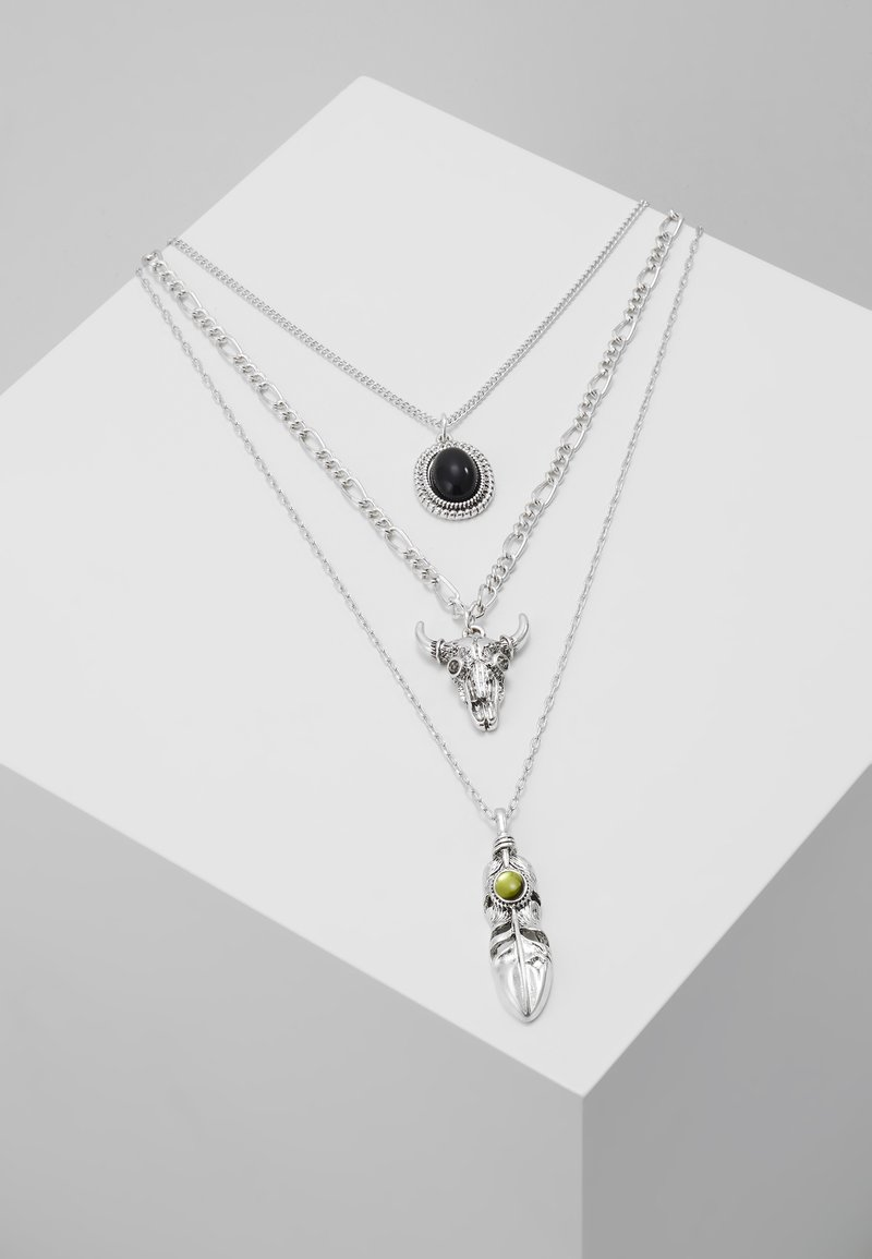 ERASE - FEATHER & RAM MULTIROW - Necklace - silver-coloured