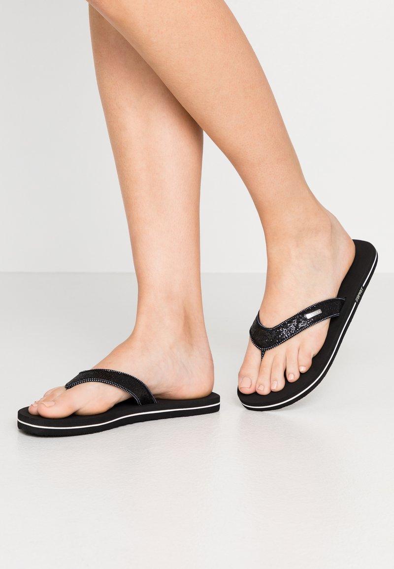 Esprit - GLITTER THONGS - T-bar sandals - black