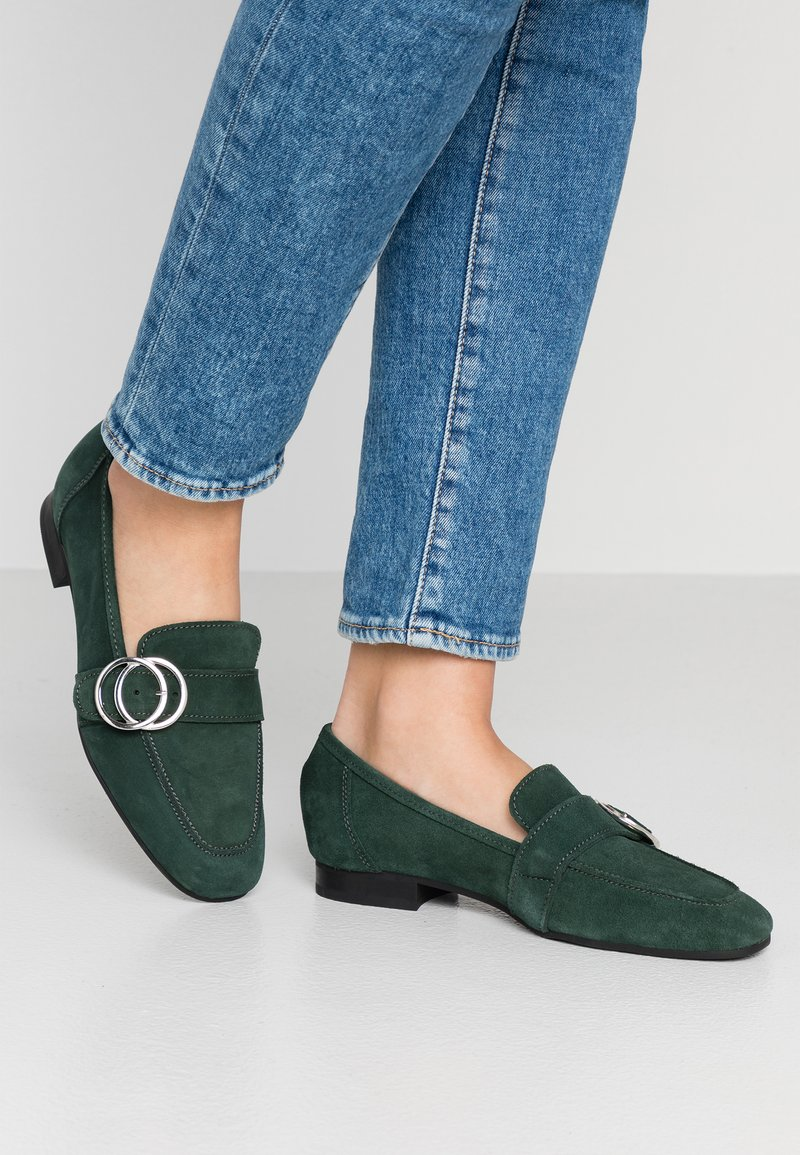 Esprit - CHANTY LOAFER - Slip-ons - dark teal green