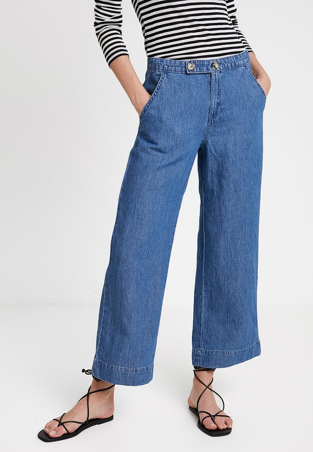CROPPED WIDE - Kangashousut - blue medium wash