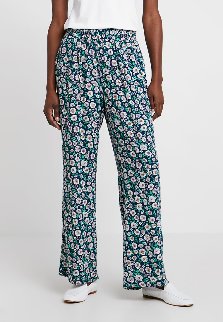 Esprit - FLORAL PALAZZO PANT - Trousers - navy
