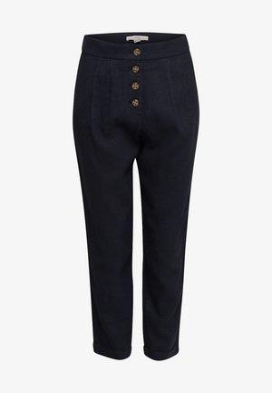 AUS LEINEN-MIX: CHINO MIT KNOPFLEISTE - Trousers - black