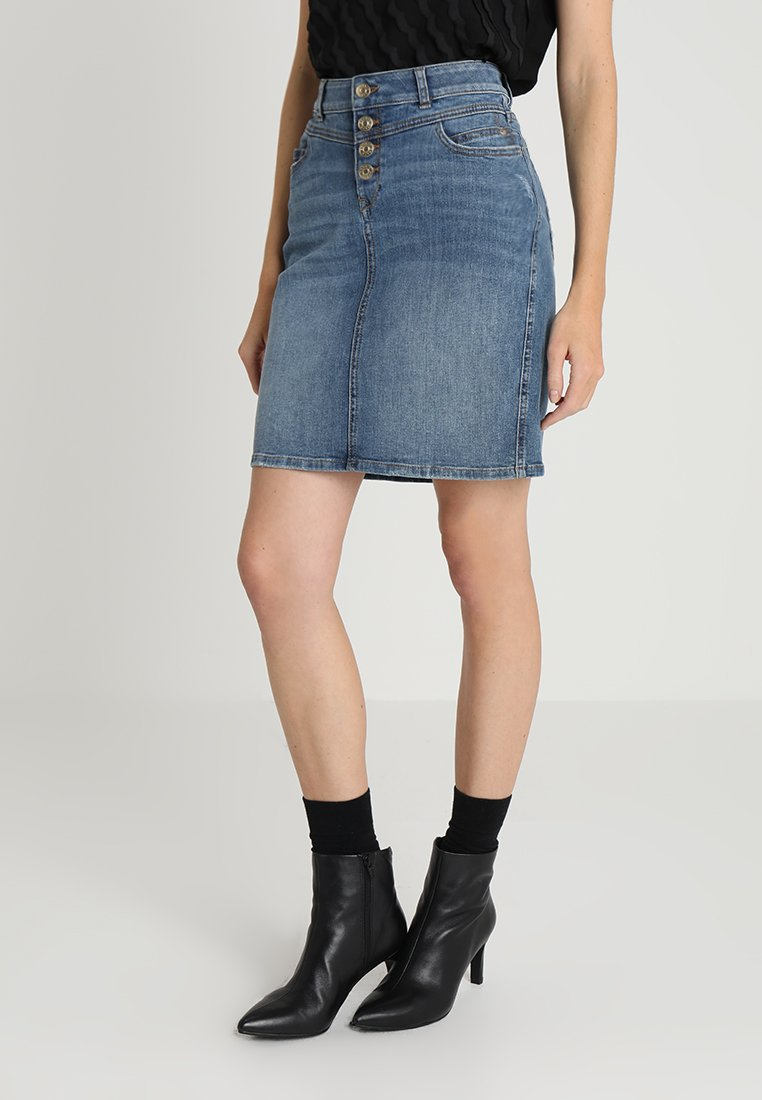 Esprit - PENCIL SKIRT - Spódnica ołówkowa  - blue medium wash