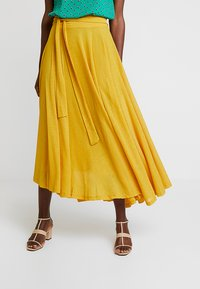 Esprit - FLARED - Maxi skirt - brass yellow - 0