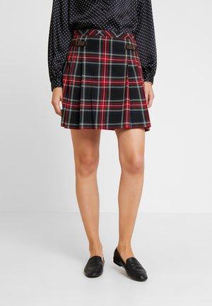 CHECKED SKIRT - Pleated skirt - black