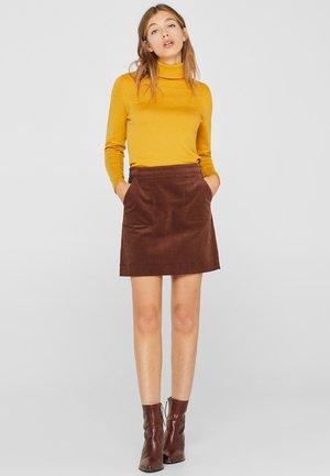 MIT FRONTTASCHEN - A-line skirt - dark brown