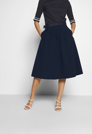 POPELINE - Áčková sukně - navy
