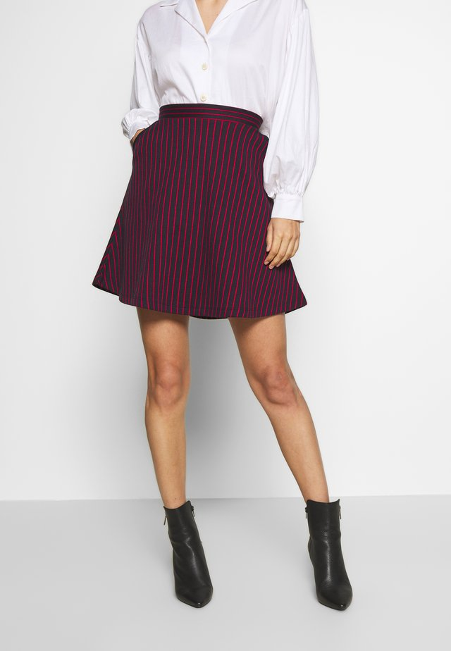 STRIPED SKIRT - Mini skirt - navy