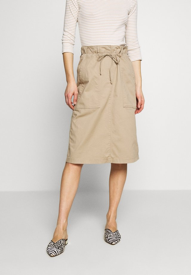 UTILITY MIDI - Pencil skirt - beige