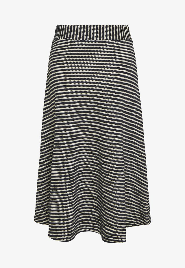 STRIPED SKIRT - Spódnica trapezowa - navy