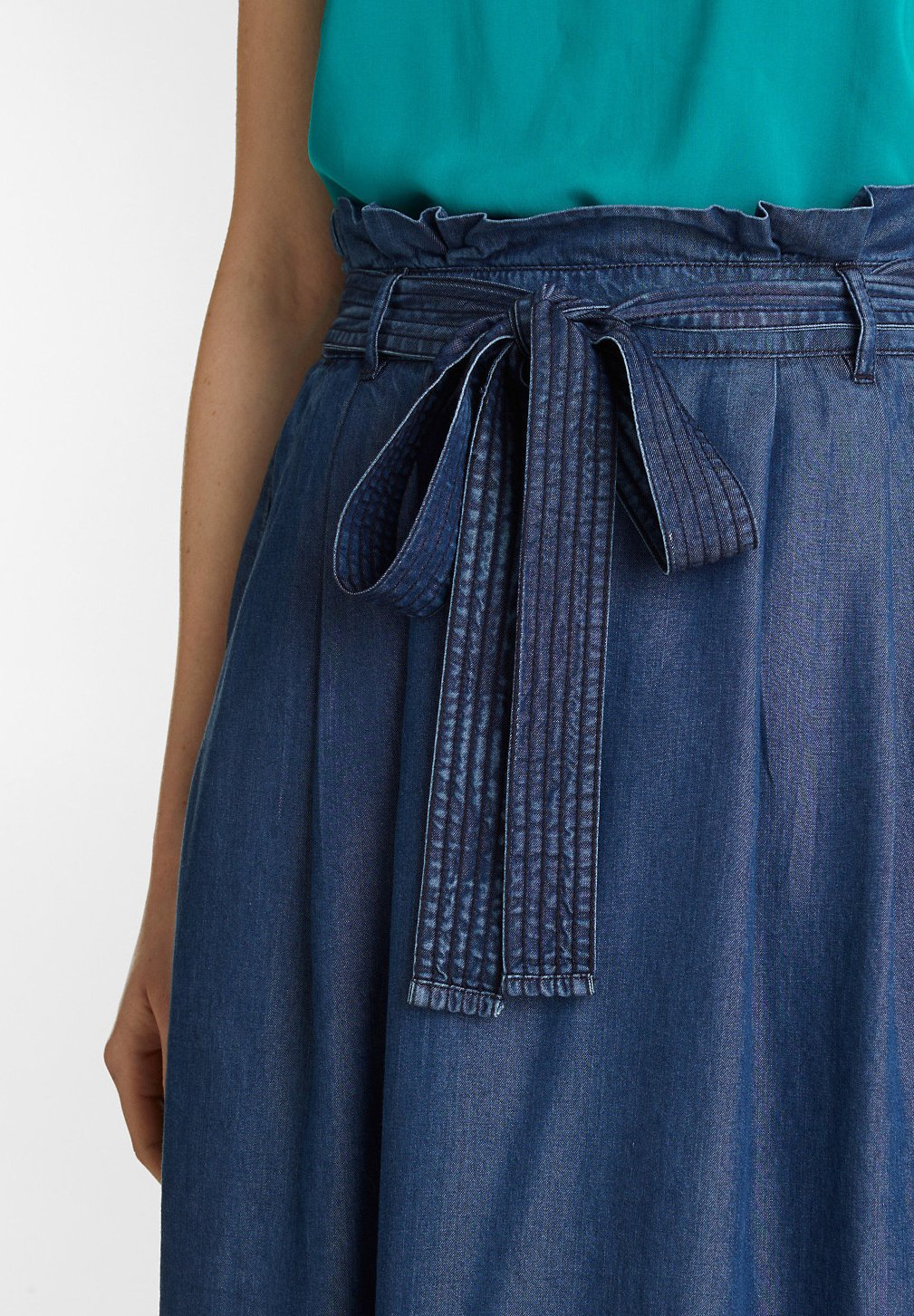 Esprit Paperbag Skirt - Plooirok Blue Dark Washed cBcmdXy