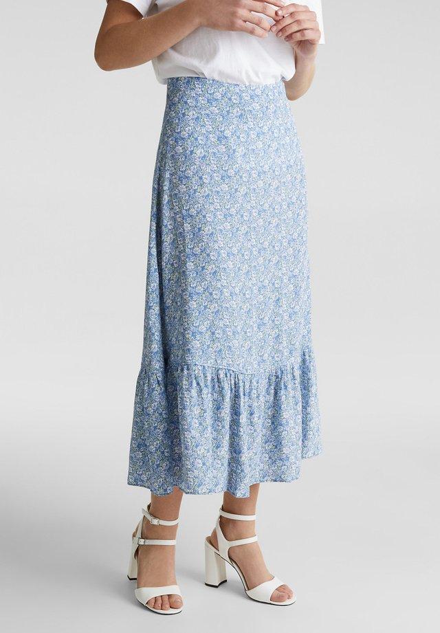ALLOVER PRINTED VOLANT SKIRT - A-snit nederdel/ A-formede nederdele - bright blue