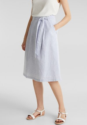 MIT STREIFEN - A-line skirt - light blue