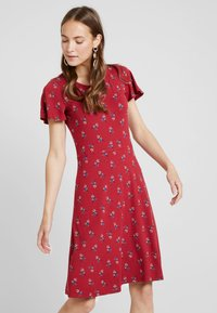 Esprit - MIDI DRESS - Jerseyklänning - dark red - 0