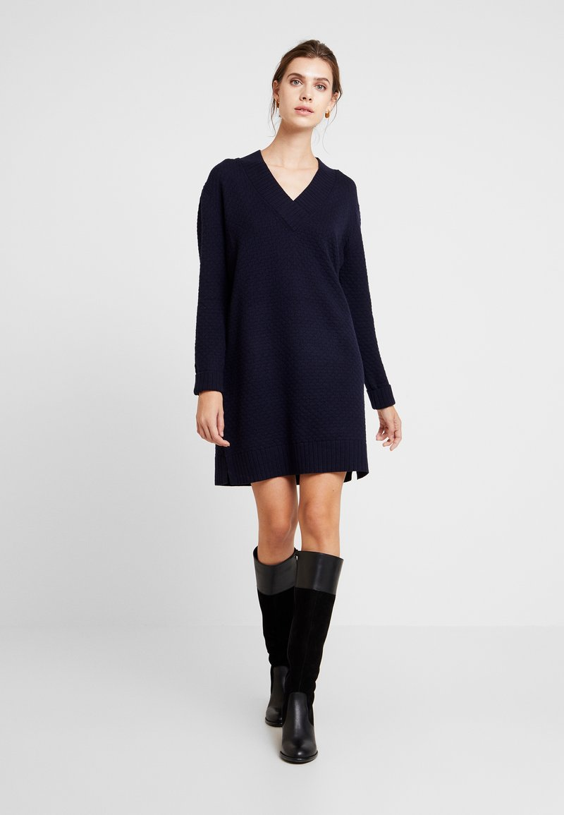 Esprit - VNECK DRESS - Vestido de punto - navy