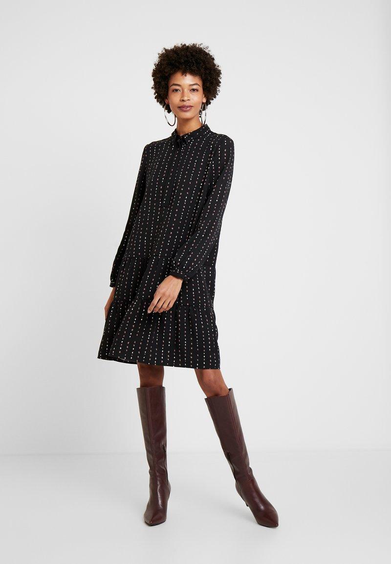 Esprit - TIERED HEM DRESS - Skjortklänning - black