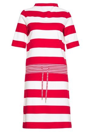 JERSEY-KLEID MIT STREIFEN,100%BAUMWOLLE - Sukienka z dżerseju - dark red