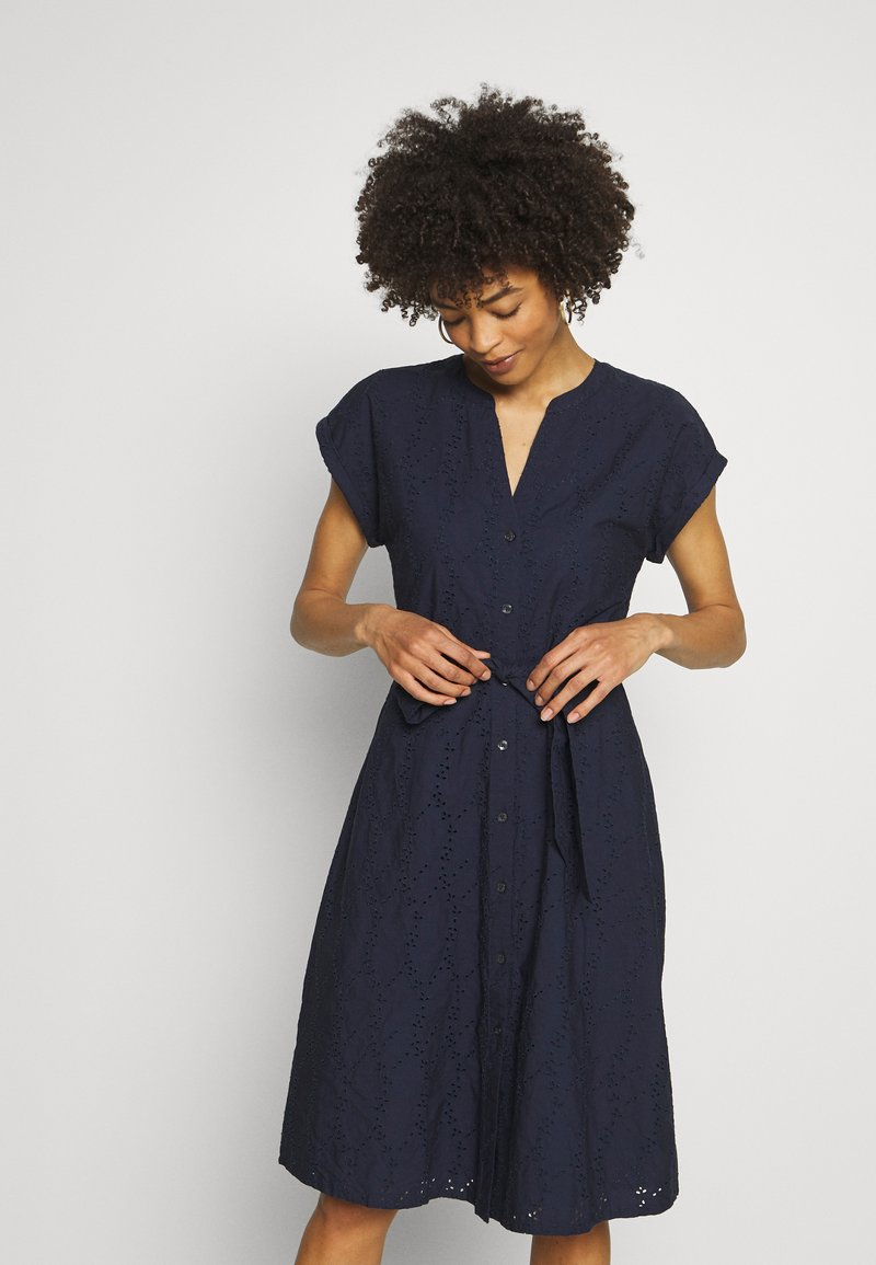 Esprit - SCHIFFLI DRESS - Shirt dress - navy