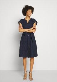 Esprit - SCHIFFLI DRESS - Shirt dress - navy - 1