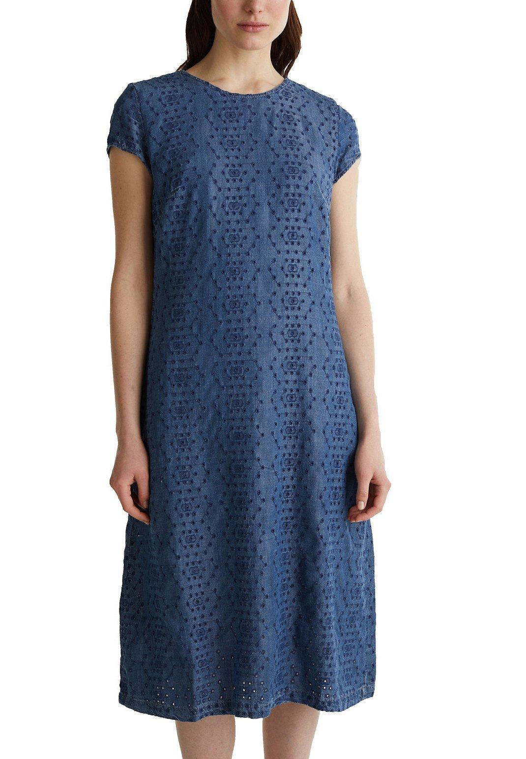 Esprit Aus Tencel™: Kleid Mit Lochstickerei - Hverdagskjoler Blue Dark Washed