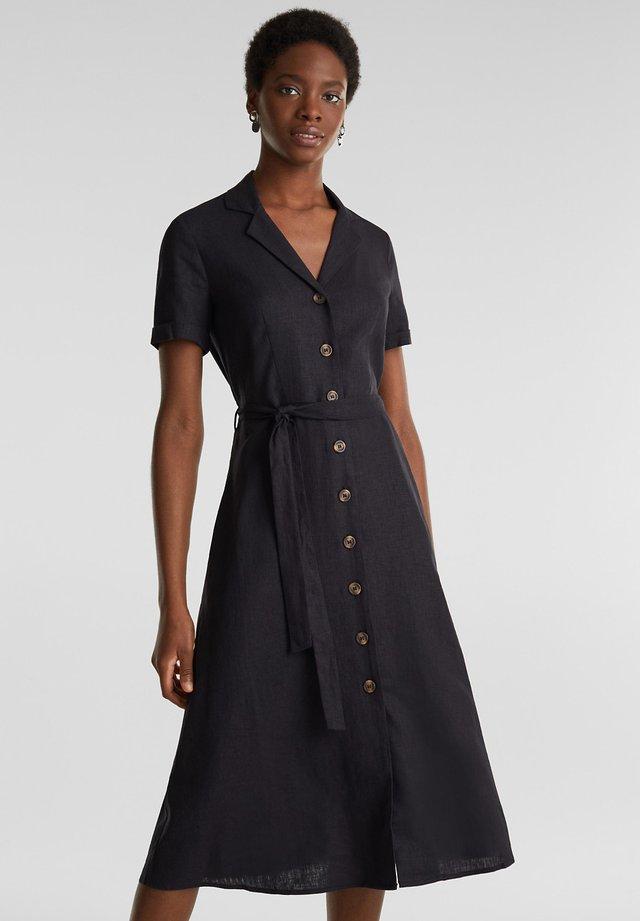 AUS LEINEN-MIX: HEMDBLUSEN-KLEID - Skjortklänning - black