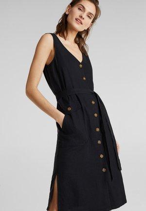 LEINEN-MIX: KLEID MIT KNOPFLEISTE - Korte jurk - black
