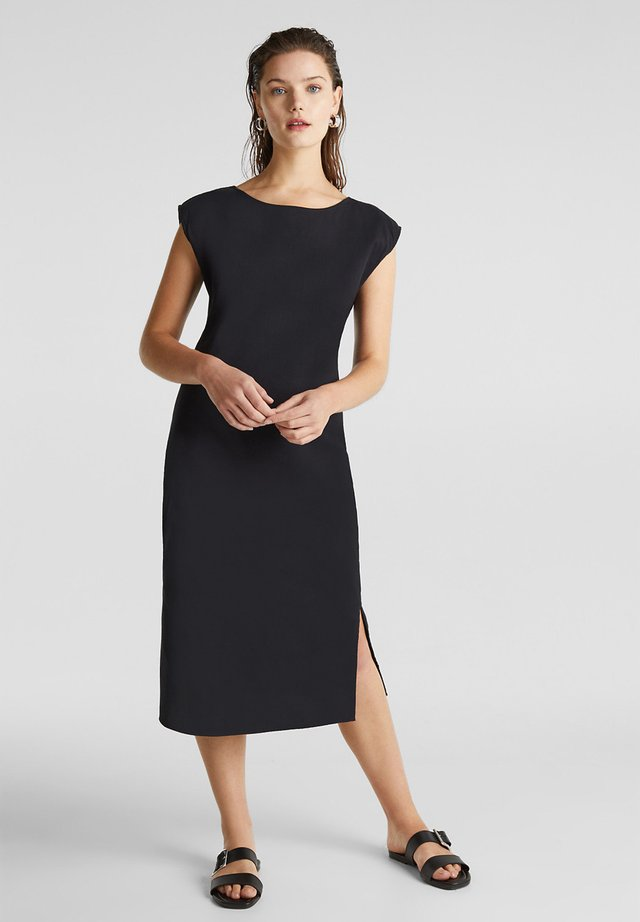 KLEID MIT KNOPFLEISTE, 100% BAUMWOLLE - Korte jurk - black