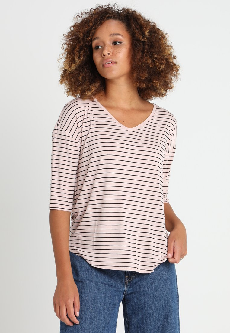 Esprit - STRIPE TEE - Print T-shirt - light pink