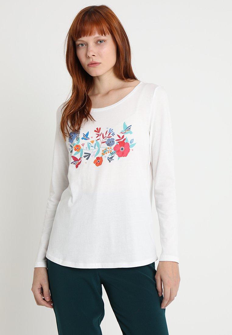 Esprit - FLOWER TEE - Langarmshirt - off white