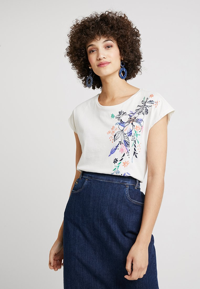 Esprit - FLOWER TEE - T-Shirt print - off white