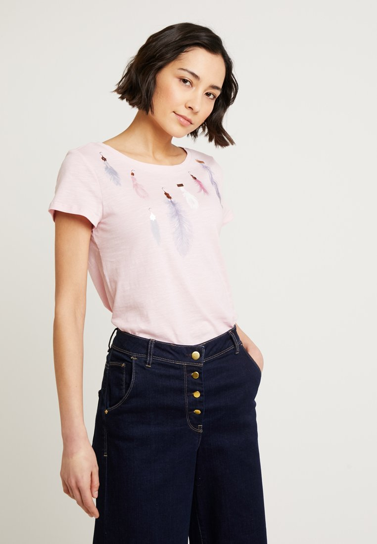 Esprit - FEATHER TEE - T-Shirt print - pastel pink