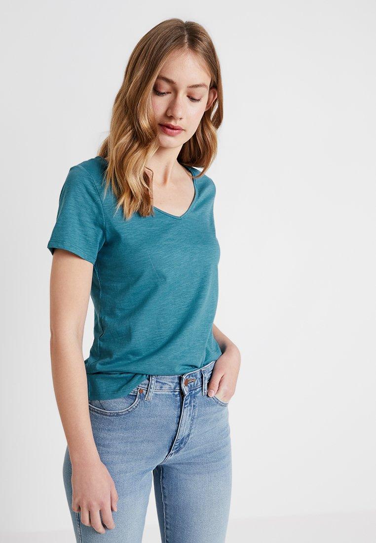 Esprit - TWISTED BACK - T-Shirt print - teal blue