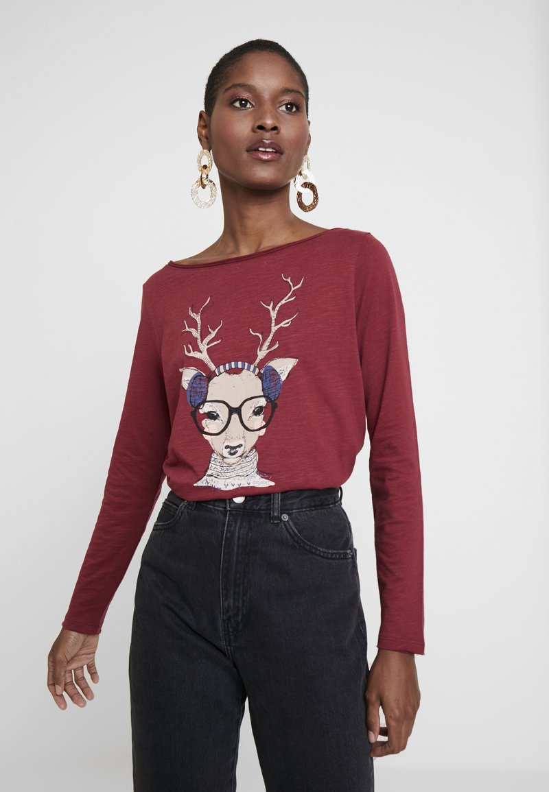 Esprit - PRINT - T-shirt à manches longues - garnet red