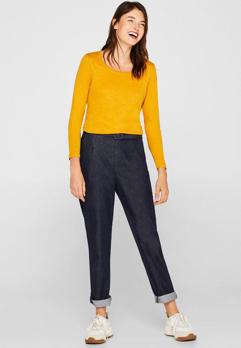 Esprit - MIT SLUB-STRUKTUR - Long sleeved top - honey yellow