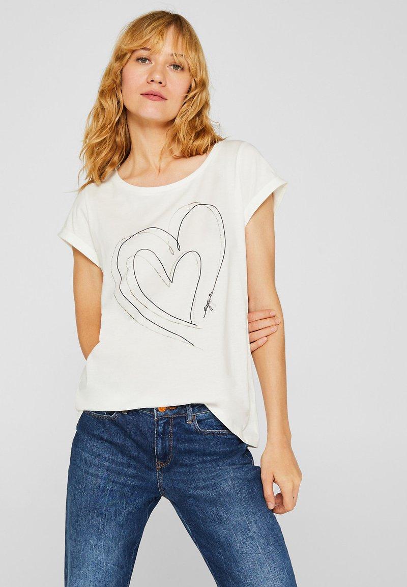Esprit - MIT ARTWORK - T-shirt con stampa - off white
