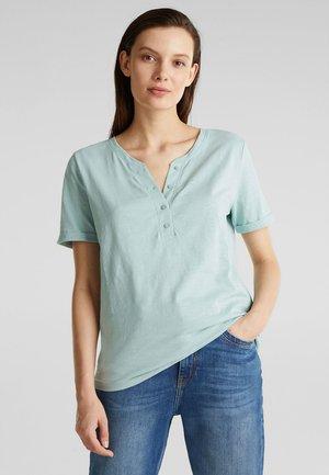 SLUB-SHIRT MIT HENLEY-AUSSCHNITT, 100% BAUMWOLLE - Basic T-shirt - light aqua green