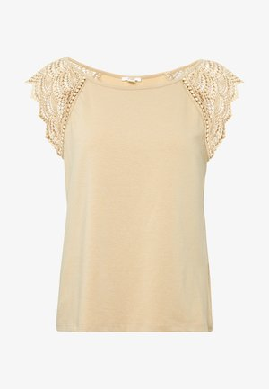 Print T-shirt - light taupe