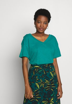 FLW LINEN T - T-shirts med print - teal green