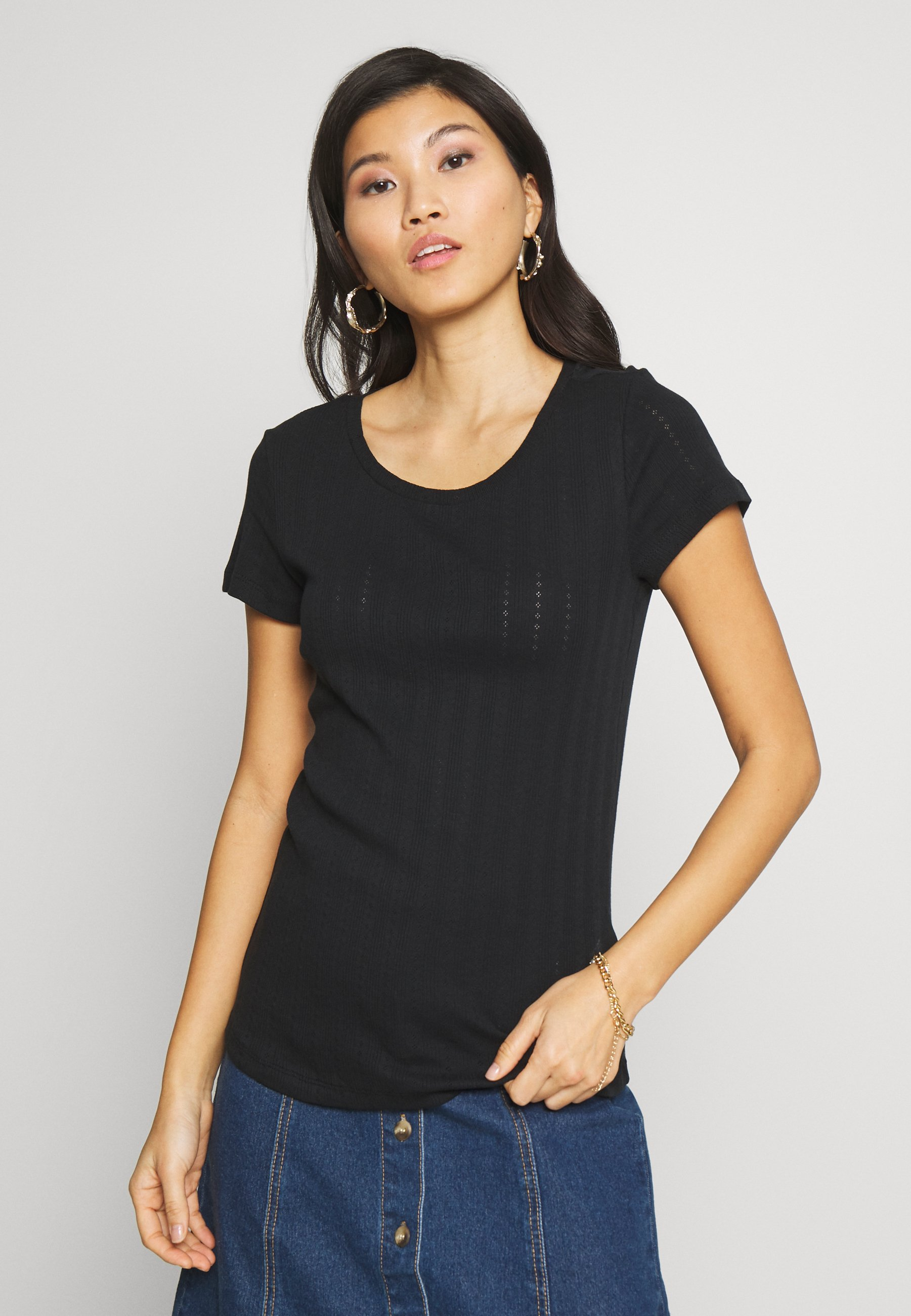 Esprit POINTELLE - T-shirt basic - black