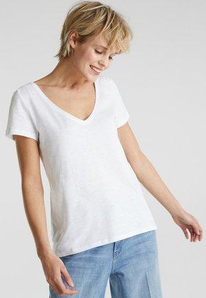 SHIRT MIT SPITZE, 100% ORGANIC COTTON - T-shirt imprimé - white