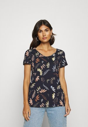 LEAF TEE - Print T-shirt - navy
