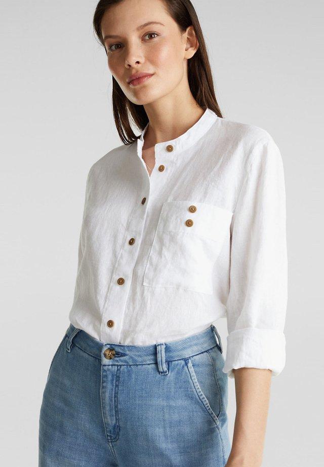 AUS 100% LEINEN: BLUSEN-JACKE MIT STEHBUND - Skjorta - white