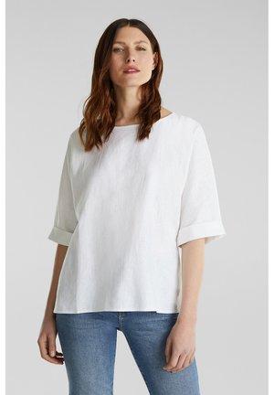 AUS LEINEN-MIX: BLUSE MIT KNOPFLEISTE - Blouse - white