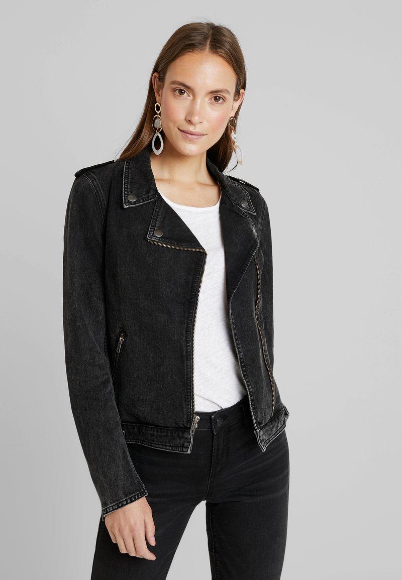Esprit - BIKER JACKET - Denim jacket - grey dark wash