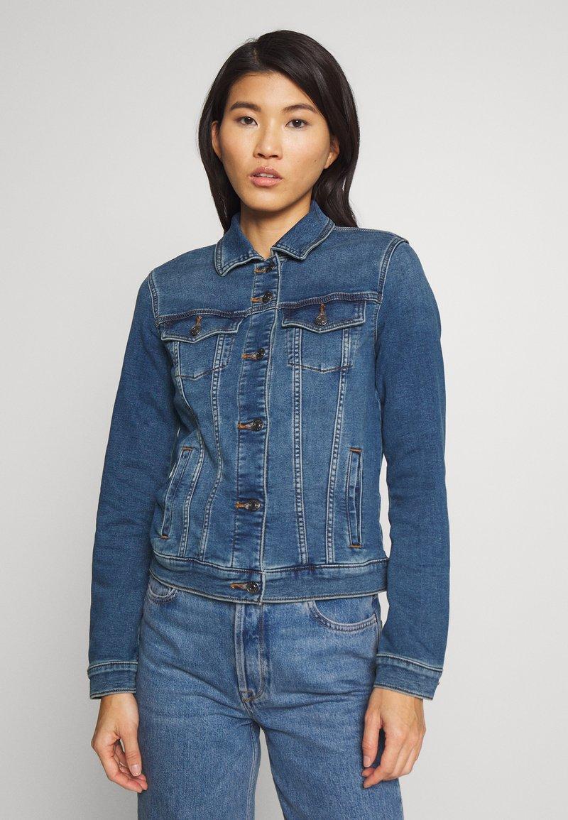 Esprit - WAISTED - Kurtka jeansowa - blue medium