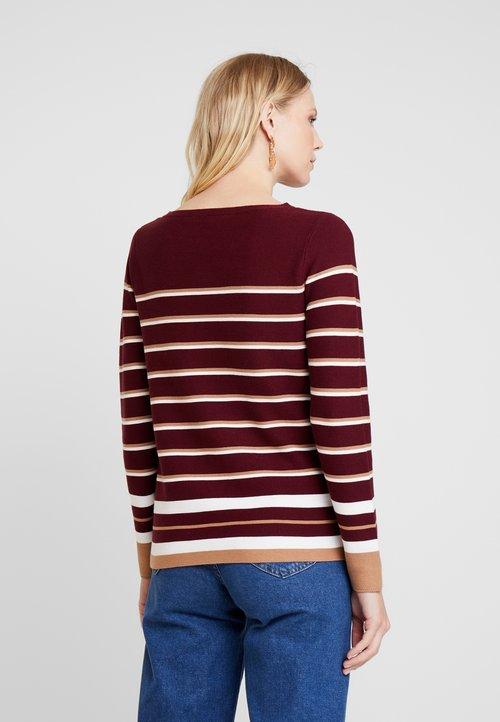 Esprit STRIPED - Sweter - red Odzież Damska CTUG-VP4 dobra jakość