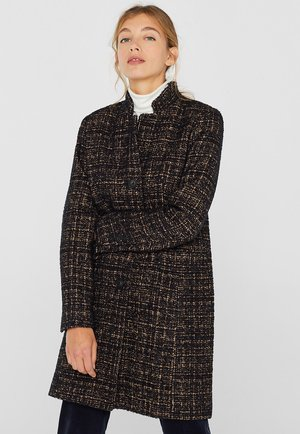 MIT ZWEIFARBIGER STRUKTUR - Classic coat - black