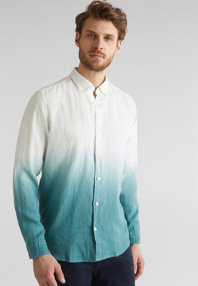 100% LEINEN: HEMD IM BATIK-LOOK - Skjorta - teal green