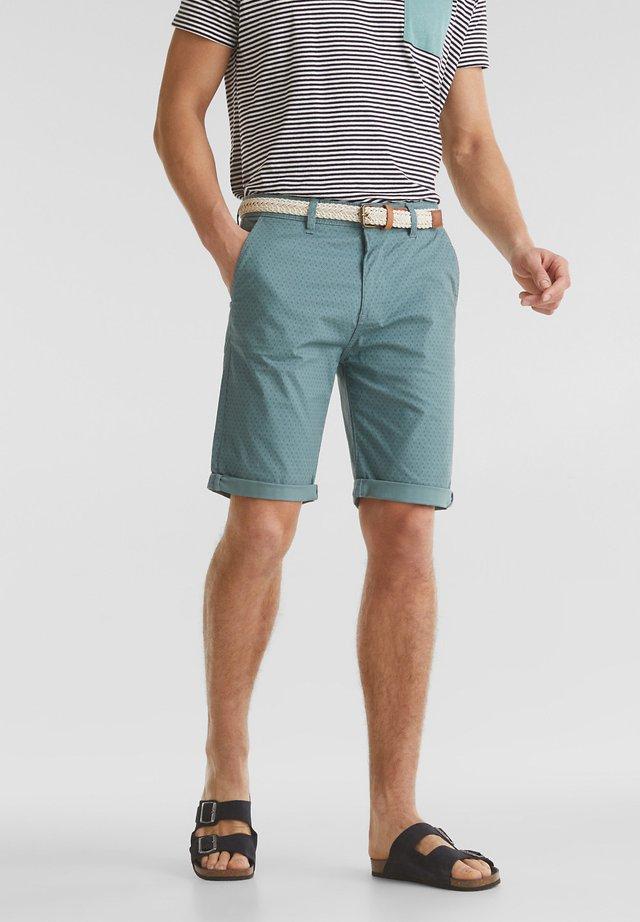 MIT GÜRTEL - Shorts - teal green