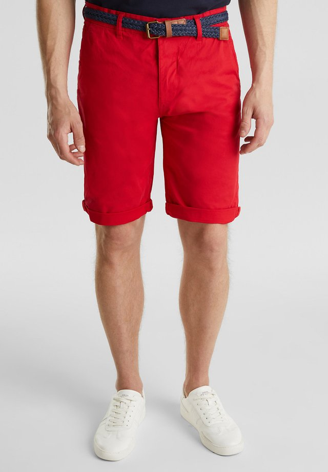 MIT GÜRTEL - Shorts - red